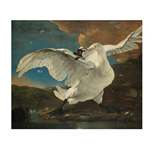 Famoso El cisne amenazado de Jan Asselijn Pintura en lienzo Carteles e impresiones Imágenes artísticas de pared para la decoración de la sala de estar-70x100cm Sin marco