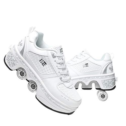 KUXUAN Zapatos Multiusos 2 En 1,Patines 4 Ruedas Niña,Doble Rodillo Zapatos De Skate Zapatos Invisible De Polea De Zapatos Zapatillas De Deporte Luz Zapatos,White-36EU/UK3