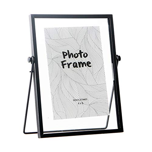 FLY SPRAY Metal Photo Frame Free Standing Collection Picture Frame Decor with Plexiglas Cover High Definition Glass Desk Photo Display Pictures 4'x 6' Black