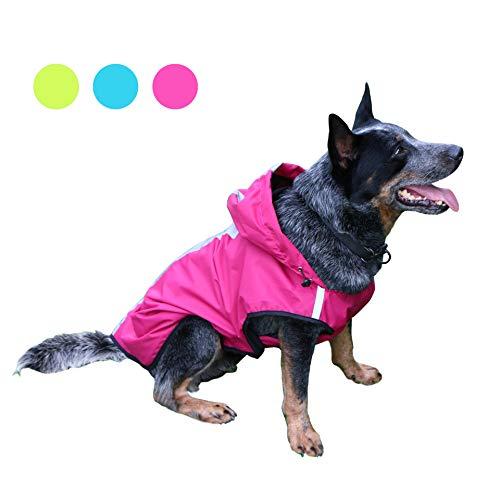 KoKoBin Cappottino Catarifrangente per Cani Gatto con Cappuccio, Tuta Riflettente per Pioggia per Cani di Taglia Grande, Regolabile Ultraleggero Traspirante Impermeabile Poncho(Rosso, XXL)