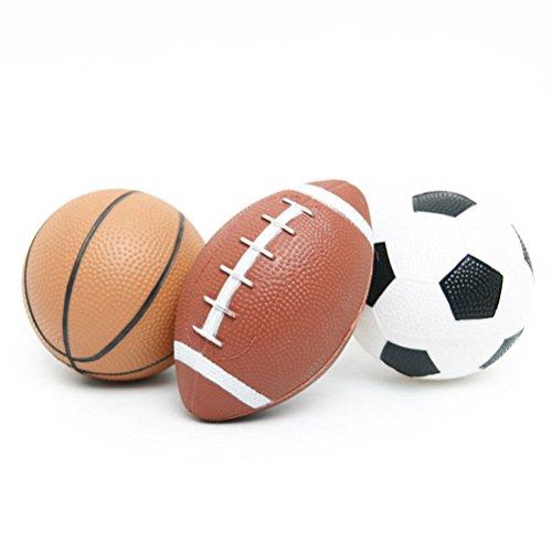YIJIAOYUN Sportbälle Set für Kinder (Fußball Basketball und Rugby) / Spaß Spielzeug im Freien