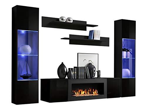 Wohnwand Flyer M3 mit Kamin Bioethanol, LED im Set, Praktische Anbauwand mit Kamineinsatz, Elegante Wohnzimmer-Set, Schrankwand, TV-Lowboard, Wandregal, Vitrine (schwarz/schwarz Hochglanz)