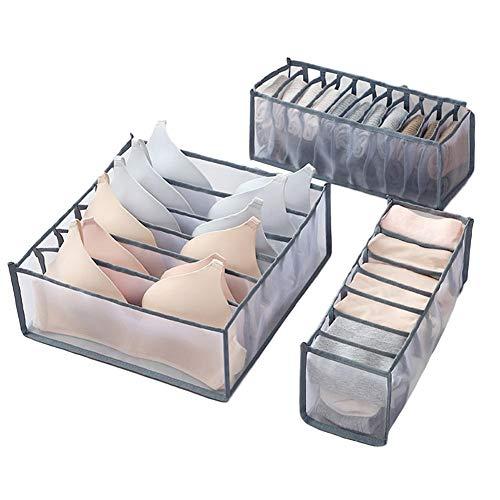 N/I Organizador De Almacenamiento De Cajones, Organizador De Cajones De Ropa Interior, 3pcs / Set Cajones Divisores Cajas De Almacenamiento para Ropa Sujetadores Calcetines Corbatas Bufandas