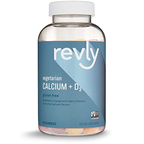 Amazon Brand - Revly Calcium + D3, 500 mg Calcium with 1,000 IU Vitamin D3 per Serving (2 Gummies), 90 Gummies, Supports Strong Bones and Immune Health, Vegetarian, Non-GMO, Satisfaction Guaranteed