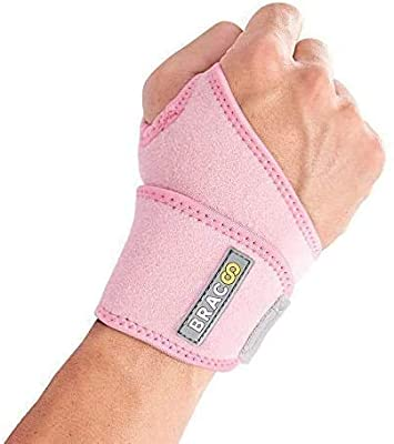 Bracoo Wrist Wrap, Reversible Compression Support for Sprains, Carpal Tunnel Syndrome, Wrist Tendonitis Pain Relief & Injury Recovery, WS10, Pink, 1 Count