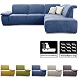 CAVADORE Ecksofa Tabagos / Große Couch mit Ottomane rechts / Modernes Sofa mit Sitztiefenverstellung / verstellbare Rückenlehne / 283 x 85 x 248 / Blau