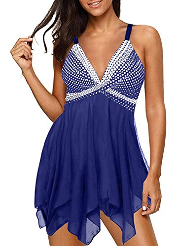 Lovezesent Two Pieces Tankini Swimsuit for Women Blue Polka Dot Print Tummy ControlBathing Suits Mesh Handkerchief Hem Swimdresses with Bikini Bottom Medium