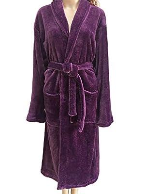 Luxurious Mens Bathrobe Solid Plush Shawl Fleece Bathrobes Soft Full Length SPA Bath Robe Kimonos Men