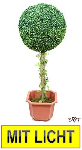 BTV Batovi Buchs Buchsbaum 45 cm hoch + kleine Buchsbaumkugel Ø 18 cm 180 mm grün dunkelgrün KOMPLETT mit Echtholzstamm Holz und Deko Efeuranke +