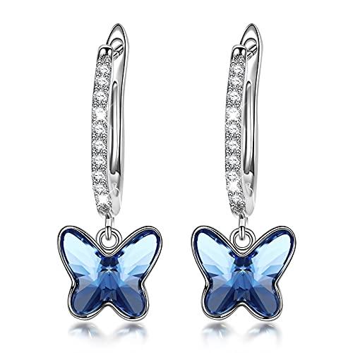 Sellot Regalos Originales para Mujer Pendientes Mujer Niña Plata de Ley 925, Pendientes de Mariposa Pendientes de Aros Cristales de Austria, Elegante Caja de Regalo