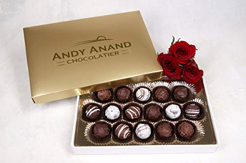 Andy Anand Champagne, Rum, Irish Cream & Kahlua Belgian 16 Pc Chocolate Truffles Gift Boxed & Greeting Card, Delicious, Succulent & Divine Birthday Christmas Anniversary