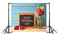 Yeele Happy母の日Backdrops 5x 91センチRespectable Kindly Mom Sweet Heart Shape写真背景Mum Lady Woman Portrait写真ビデオスタジオ小道具