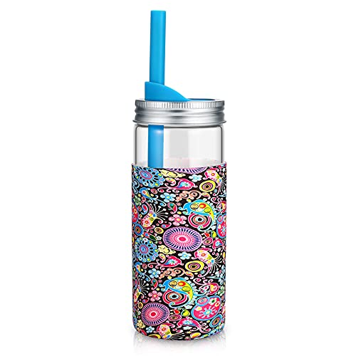 tronco 20Oz Borosilicate Glass Tumbler Bottle with Unbreakable Metal Mason Jar Style Lid and Protective Silicone Sleeve and Silicon Straw BPA-Free Easy Cleaning