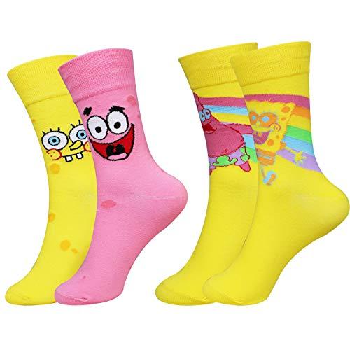 Xiaoyuer 2 Paar Socken Sock Strumpf Lustig Süß für Herren Damen Mädchen Junge Baumwolle Spaß Kawaii Cartoon Cooles (SpongeundPatrick)