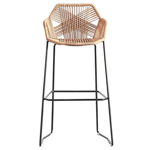 DJPP Chair Bar,Cafe,Restaurant Chair,Barstools Rattan Wicker Chair For Kitchen Pub Café Breakfast Counter With Footrest Back Stool Khaki Brown,Height 58Cm