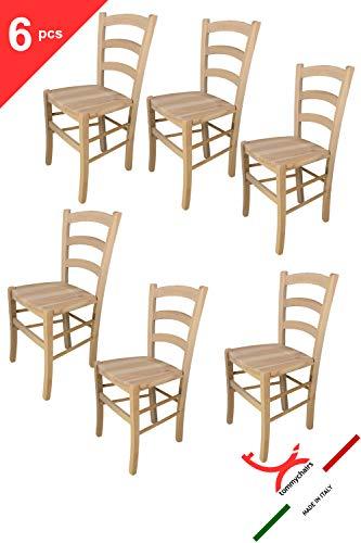 Tommychairs 6er Set Stühle Venezia 38 im klassischen Stil robuste Struktur aus poliertem Buchenholz, unbehandelt und 100{1099d74abcfc2192ad71d2d8251e1b423aa75e41c3f1f6df17df03876969ce71} natürlich, im natürlichen Farbton und mit Einer Sitzfläche aus poliertem Holz