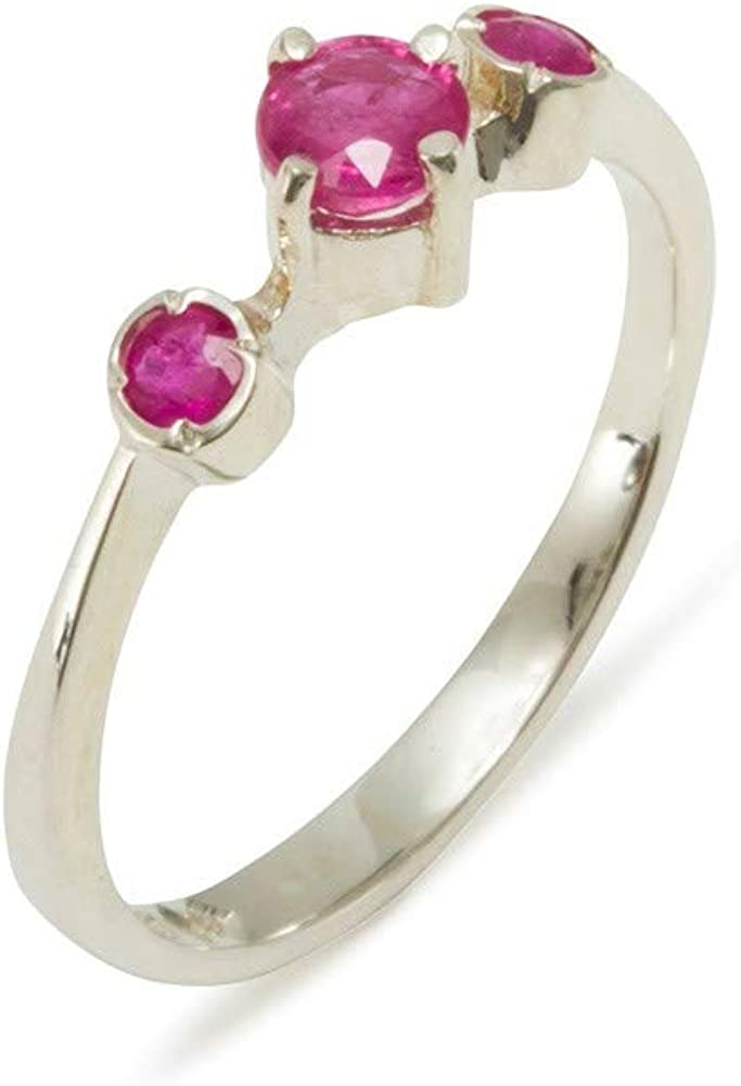10k White Gold Natural Ruby Womens Trilogy Max 83% OFF - to Ring 12 4 Max 81% OFF Sizes