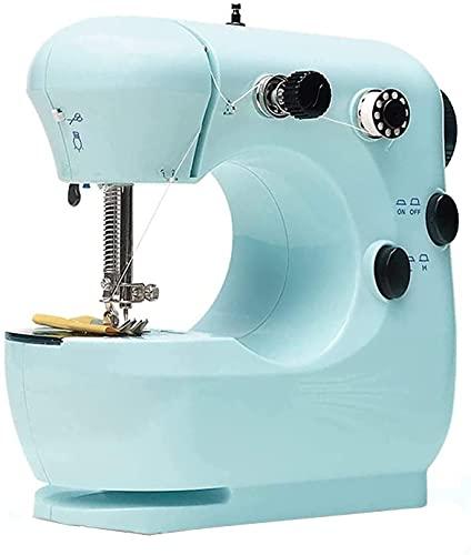 NKTJFUR Mini máquina de coser mini máquina de coser ajustable 2 velocidades doble hilo con luces y pedal cortador (color: azul, tamaño: talla única) (color: azul, tamaño: talla única)
