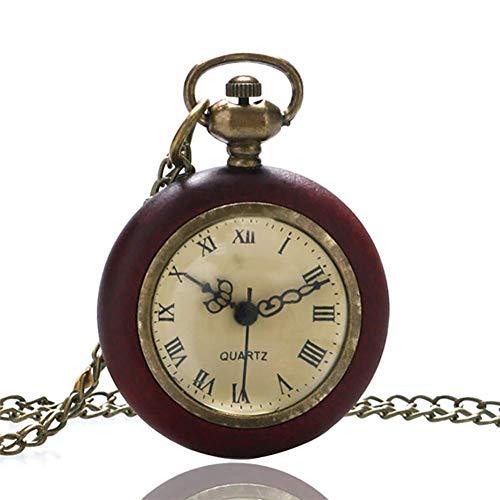 MingXinJia Inicio Relojes de Cabecera Reloj de Bolsillo Vintage, Círculo de Madera...