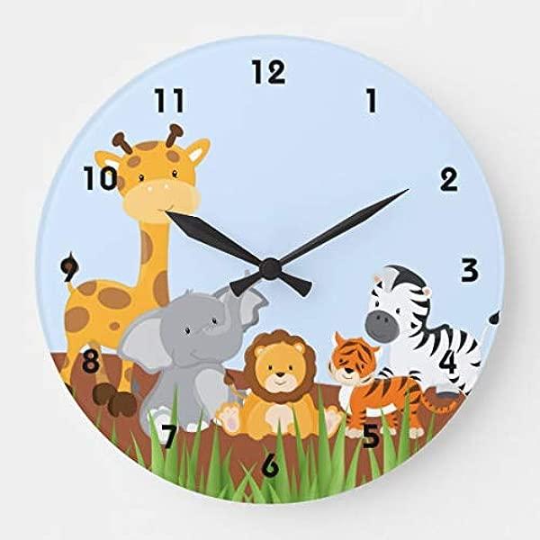 蓝色可爱丛林小动物挂钟装饰卧室托儿所圆形无声木时钟艺术儿童女孩男孩房间 14 英寸