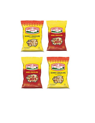 Turkey Creek - America's Best Fried Pork Products, offers a 4-Bag Combo Pack of its Skinny Pork Cracklins(2-Regular & 2-Hot). These Pork Cracklin Chips (Chicharrones) are a packed in full 2.0 oz bags.