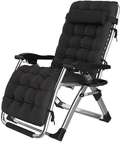 Lhak Sillón reclinable al Aire Libre Reclinable Ajustable for Trabajo Pesado, Plegable, reclinable for Patio Trasero al Aire Libre césped Junto a la Piscina y la Playa, (Color : Black)