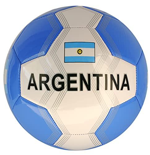 Argentina - Balón de fútbol con bandera de Argentina, talla 5, color blanco y azul