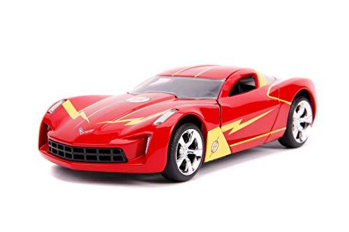 Jada Toys 253252007 The Flash, 2009 Chevy Corvette Stingray, auto giocattolo di Die-cast, porte apribili, scala 1:32, rosso