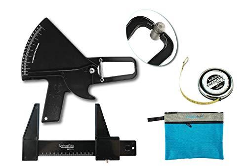 Kit Antropometrico Basico AnthroFlex con Plicometro Slim Guide, Cinta Metrica Antropometrica Lufkin W606PM, Manual con Tablas para Medir y Calcular Grasa Corporal, Alta Precision (Negro)