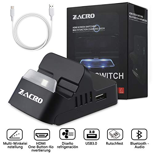 Zacro Nintendo Switch Tragbar Dock with Bluetooth Audio, Multi-angle and Thermisches Design, switch Base with Type-C Quick Charging Cable.
