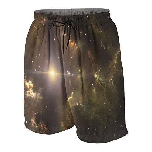 USOPHIA Herren Beiläufig Boardshorts,Die wichtigste Supernova unseres Sonnensystems,Schnelltrocknend Badehose Strandkleidung Sportbekleidung mit Mesh-Futter