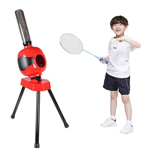 DSGYZQ Kinder im Freien Sport Spielzeug Eltern-Kind Interaktion Freizeit Unterhaltung Automatische Badminton Training Ball Maschine Sportgeräte,Rot