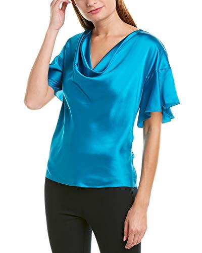 Elie Tahari Womens Silk Blouse, 4 Blue