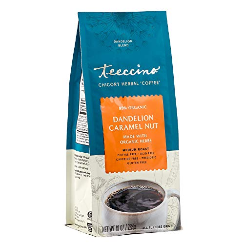 Teeccino Coffee Alternative – Dandelion Caramel Nut – Detox Deliciously with Dandelion Herbal Coffee That's Prebiotic, Caffeine Free & Gluten Free, Medium Roast, 10 Ounce