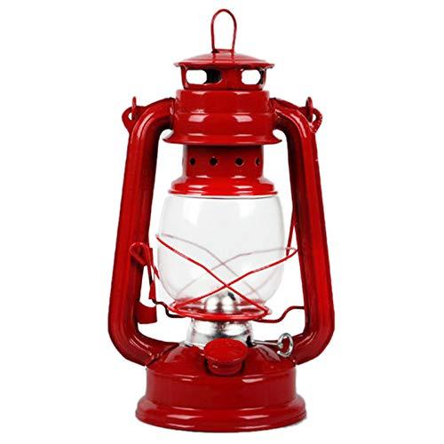 PQZATX Retro Klassische Petroleum Lampe Kerosin Laternen Docht Tragbare Lichter Verzierung - Rot