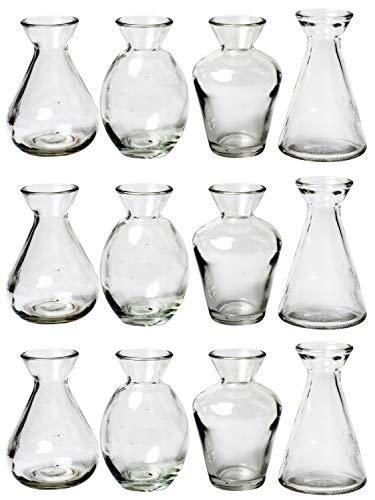 MIK Funshopping Mini-Vase für die Tischdeko Deko-Vasen Glasfläschchen Glasvasen Blumenvasen Liberte 10 cm (12)