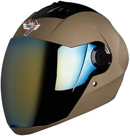 Steelbird SBA-2 7WINGS Full Face Helmet In Matt Finish with Tinted Visor (Large 600 MM, Matt Desert Storm//Gold Visor)