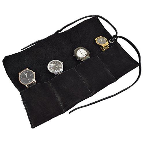 Hide & Drink Uhrenrolle, weiches Leder, für bis zu 4 Uhren, handgefertigt Veloursleder, Anthrazit