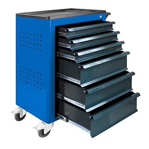 ADB Werkzeugwagen Werkstattwagen Basic Werkzeug Rollwagen mit 6 Schubladen blau