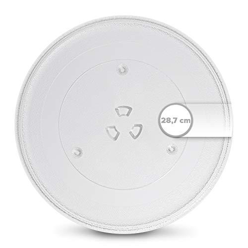 Plato giratorio para microondas, 287 mm de diámetro, plato de cristal redondo para microondas de cristal con 3 puntos