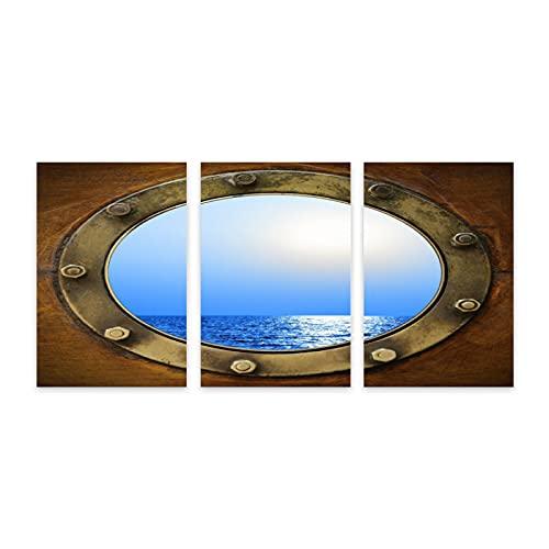 3 Piezas Sin Marco Fotografía Mural,Diseño temático de la ventana del barco del puerto que mira el diseño marino náutico del,Póster Huellas Dactilares Decor Mural Lienzo Pintura al óleo,7.9' x 11.8'