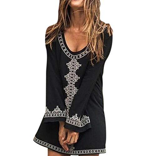 Lialbert Boho Freizeitkleid Dame T-Shirt-Kleid Gerafftem Bedrucktes LangäRmliges HäNgerkleid Mit Etuikleider Minikleid Bedrucktes Skaterkleid Kleider Lockerer Rock Schwarz