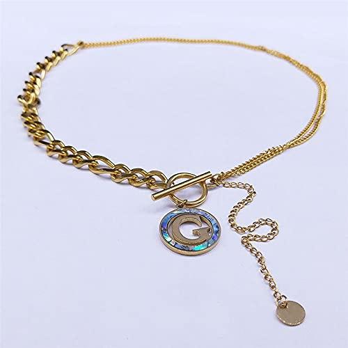 YUANBOO G Collar De Chokers De Acero Inoxidable De La Letra G para Hombres/Mujeres Colgantes De Color Oro Collares Collar De Letras De La Joyería