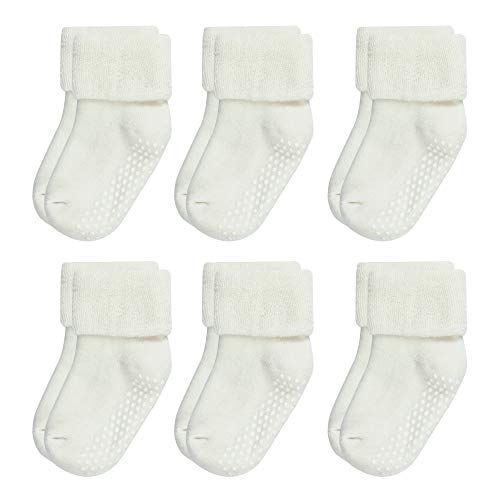VWU Lot de 6 Paires Unisexe Bebes Infant Chaud et épais Antiderapants Chaussons Chaussettes de Manchette Rayées Nouveau-Nés Bébé Chaussettes en Coton 1-3 Ans (0-1 Ans, Blanc)