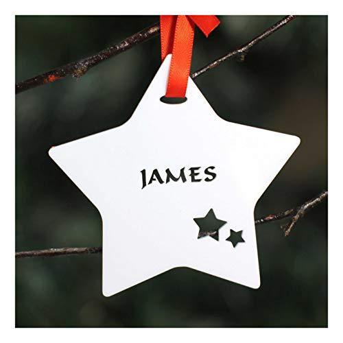 Personalised Custom White Christmas Tree Star Bauble Festive Decoration...