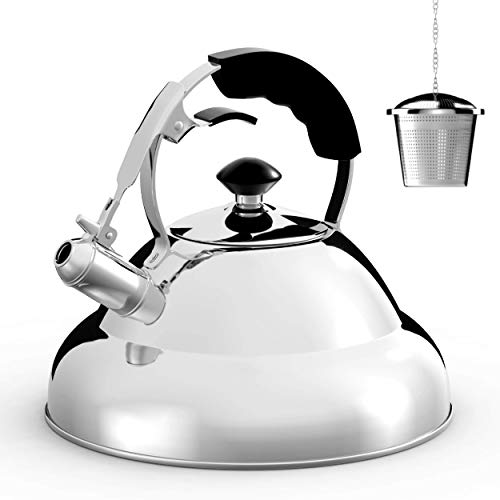 Tea Kettle - Stainless Steel Whistling Teapot with Capsule Bottom and Mirror Finish, 2.75 Quart Tea...