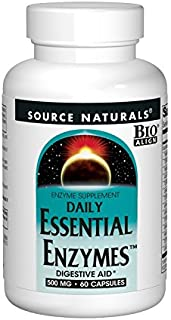 Source Naturals Essential Enzymes 500mg, Full Spectrum Digestion with 8 Active enzymes, 60 Capsules