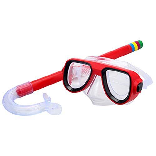 QWERT 2 Piezas Easybreath Gafas de Bucear Niños Máscara de Buceo Máscara Snorkel Tubo Respirador Anti-Niebla Gafas de Natación Set de Buceo 3-10 Años de Edad,Rojo