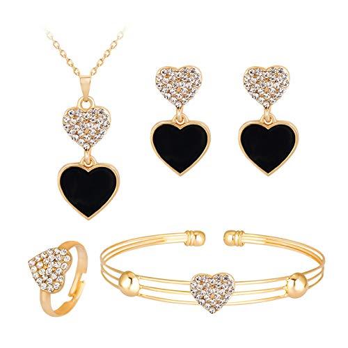 Schmuck-Set, Damen-Schmuckset mit Halskette, Ohrringen, Ringen, Armband, Vintage-Stil, Schwarz