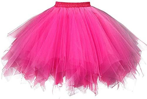 Ksnnrsng Damen Tüllrock tütü Rock 50er Rockabilly Petticoat Tutu Unterrock Kurz Ballett Tanzkleid Cosplay Ballkleid Abendkleid (Rose rot, M)